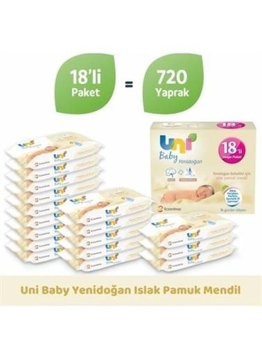Uni Baby Unibaby Yenidoğan 18x40'lı 720 Adet Islak Mendil Beyaz